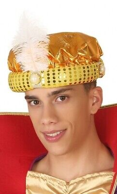 Mens Gold Arabian Arab Headdress Turban Fancy Dress Costume Outfit Hat