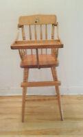 Chaise haute Vintage en bois - Chaise antique -
