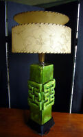 big mid century modern signed drip glaze art pottery lamp