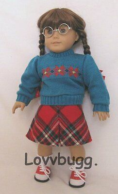 """Lovvbugg Plaid Skirt Set Vintage Style for 18"""" American Girl Molly Doll Clothes"""