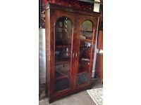 Antique Mahogany Glass Front Cabinet/ Bookcase