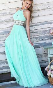 ♥ elegantes Kleid Maxikleid Chiffonkleid Ball Uni lang türkis hellblau Gr. S/M