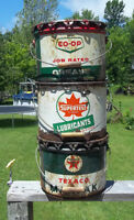 Old Texaco, Co-op, Supertest 25 lb grease oil tin cans