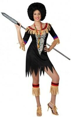Damen Zulu Warrior aus Aller Welt Hula Party Kostüm Kleid Outfit 8-18