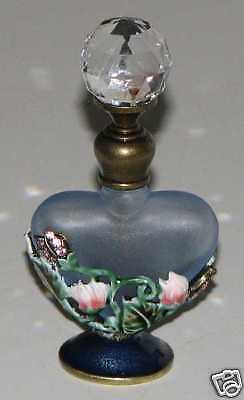 Heart Shaped Bottle (Prism Topped Heart Shaped Bejeweled Blue Perfume Bottle )