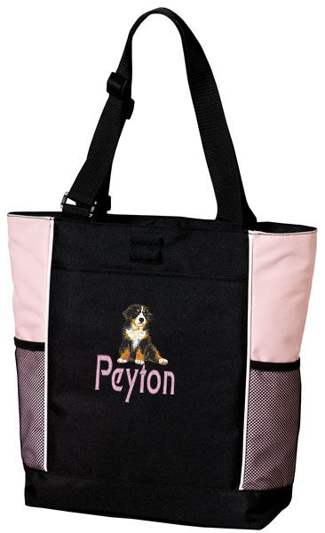 Bernese Mountain Dog Embroidered Panel Tote