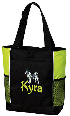 Norwegian Elkhound Embroidered Panel Tote