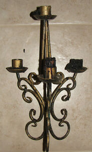Black Candle Stick Holders with Gold Speckles London Ontario image 2