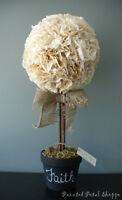 Coffee Filter Topiary/Rustic Decor/Centerpiece/Home/ Wedding