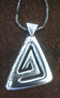 "Ethnic Hmong Miao Silver Triangle .925 Silver 24""Byzantine Chain"