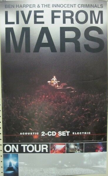 BEN HARPER 2001 live from mars BIG promo poster New Old Stock Mint Condition