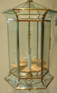 Solid Brass and bevelled glass light fixture