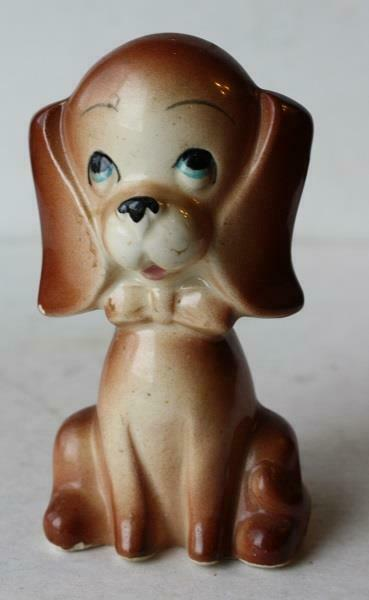 Puppy Dog Figurine Bow Tie Ceramic-Porcelain Hand Painted Cartoon-Comic Style