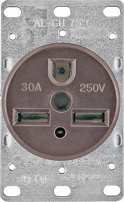 New Cooper 1234-box 250 Volt 30 Amp 2 Pole 3 Wire Brown Power Receptacle 6875041
