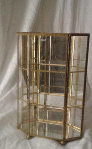 Glass/Brass small Display cabinet collectibles/dressing table