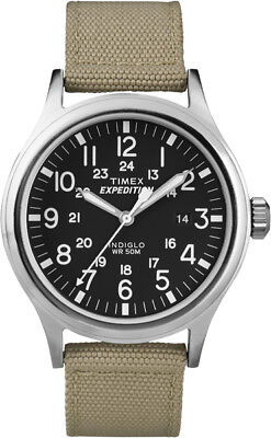 T49962 Timex Expedition Metal Scout Mens Watch Black Dial Tan Beige Nylon Strap  - Green Dial Tan Leather Strap