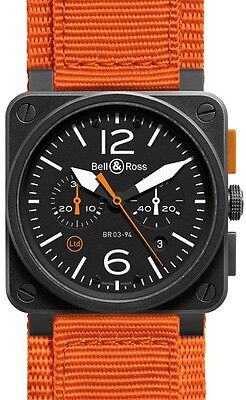 BR-03-94-CARBON-ORANGE | BELL & ROSS AVIATION | NEW LIMITED EDITION MENS WATCH