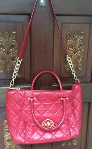 Authentic Red MK LAMBSKIN BAG