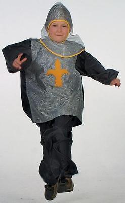 Ritterkostüm Kinder little Lancelot gelb/schwarz Kettenhaube Hemd Hose - Kinder Kettenhemd Kostüm
