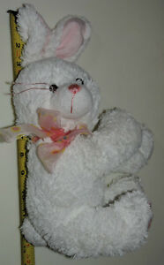 White Soft Plush Stuffed Bunny Rabbit with Bow