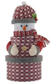 Set Of 3 Round Christmas Nested Gift Boxes - Novelty Snowman
