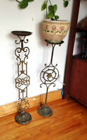 Two beautiful iron flower stands