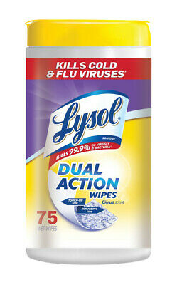 Lysol Dual Action Disinfecting Wipes, Citrus, 75 ct (Pack of 4)
