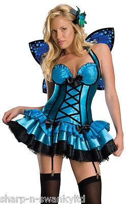 Damen Erwachsene Sexy Blau Fantasie Fee Schmetterling Nymphe Kostüm Kleid Outfit