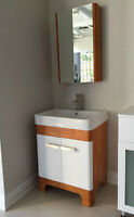"25"" Oak Bathroom Vanity with Sink & Medicine Cabinet"