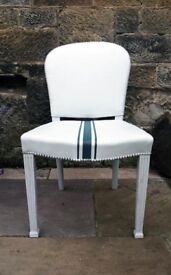 Painted leather desk chair in fusion mineral paint lamp white with homestead blue grain sack stripe