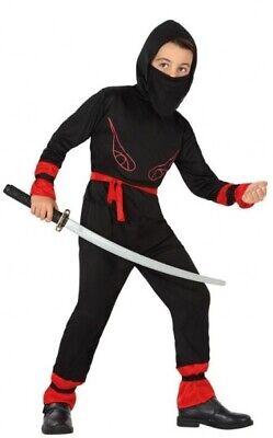 Jungen Mädchen Schwarz Rot Japanisch Ninja Halloween Kostüm Kleid Outfit 3-12 (Japanische Mädchen Halloween-kostüm)