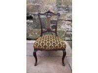 Antique upholstered nursing bedroom chair with original velvet upholstery
