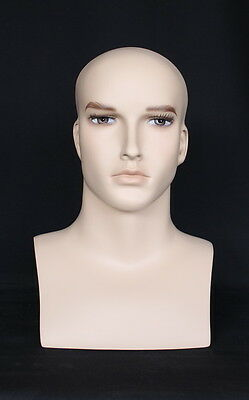 16 In H Male Head Bust Display Mannequin. Skintone With Face Make Up Mh7ft