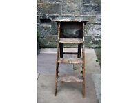 Vintage wooden paint splattered step ladder