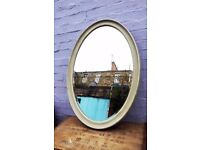 Large Vintage oval wall mirror painted in Miss Mustard Seed Milk Paint Layla's Mint.