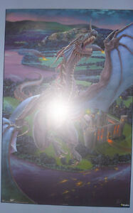 Dragon Poster. The Last Stand by Tom Wood. Plaque Mounted.
