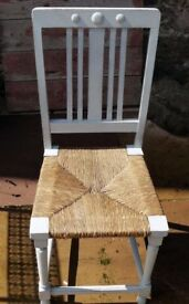 Vintage rush seat chair painted in miss mustard seed milk paint Mora