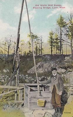 Antique Postcard C1911 Waith Well Sweep Floating Bridge Lynn  Ma 13957