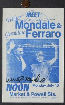 Walter Mondale-Geraldine Ferraro autographed San Francisco,California Leaflet!*