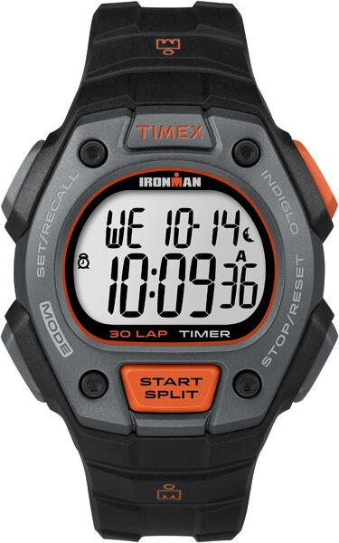 Running Sport Watch Men's Black Ironman Classic 30 Orange Accent Timex TW5K90900