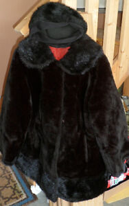 VINTAGE FAUX FUR COAT & HAT