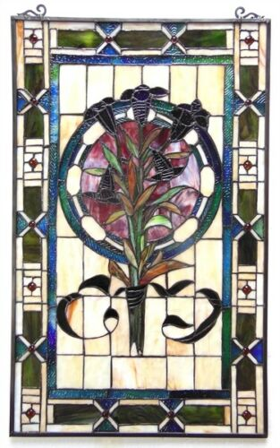 """32"""" Tiffany Style Floral Tulip Stained Glass Window Panel"""