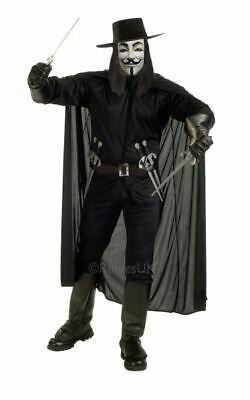 SALE! Adult V For Vendetta Mens Halloween Fancy Dress Costume Party Outfit
