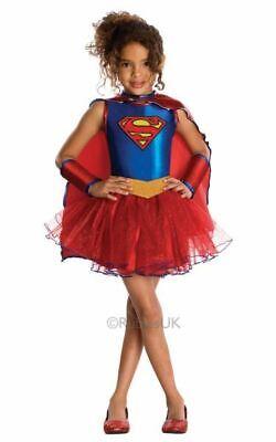 Girls Superman Supergirl Costume Kids Marvel DC Comics Superhero Fancy Dress Out ()