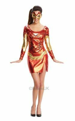 Iron Man  Womens Costume DC comics Marvel Superhero Fancy Dress outfit (Marvel Comic Fancy Dress Kostüme)