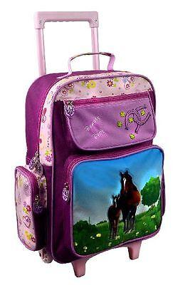 STEFANO Kindertrolley KinderKoffer Kinderreisetasche Trolley Pferde Horse pink