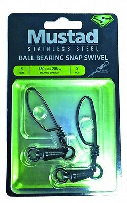 - MUSTAD BALL BEARING STAINLESS SWIVEL TOURNAMENT SNAP  2 PACK-PICK SIZE-FREE SHIP