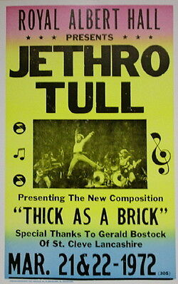 """Jethro Tull Concert Poster - 1972 - Presenting """"Thick As A Brick"""" - 14""""x22"""""""