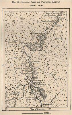 Madeira river falls/planned railway.Teotônio Sao Antao Brazil Amazonia 1885 map