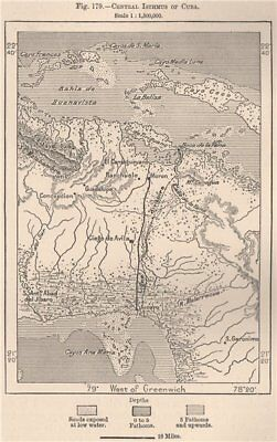 Central Isthmus of Cuba 1885 old antique vintage map plan chart
